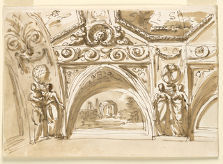 Horizontal rectangle. A variation of the scheme of -1539. The left corner is clearly shown. The figures of two women stand in front of the support of a sphere, below a festoon, in the arch between the panel, in the intervals of the painted arches. Above them are oblongs with rinceaux. The upper part is decorated with octagonal representations. They are separtated by bands. Children, holding a shell with a mask, are seated upon the oblongs with rinceax.