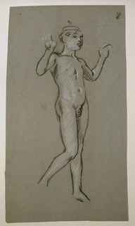 Vertical rectangle. The nude figure of a boy, standing, turned toward the right. The arms are uplifted. A rapid sketch, details indicated briefly.