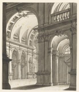 Vertical rectangle. Renaissance building interior with high vaults.