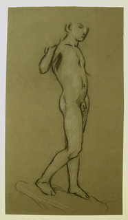 vertical rectangle. The nude figure of a boy, standing, turned sharply to the right. The arms are uplifted, the left arm and right hand incompletely indicated. Pedestal suggested.