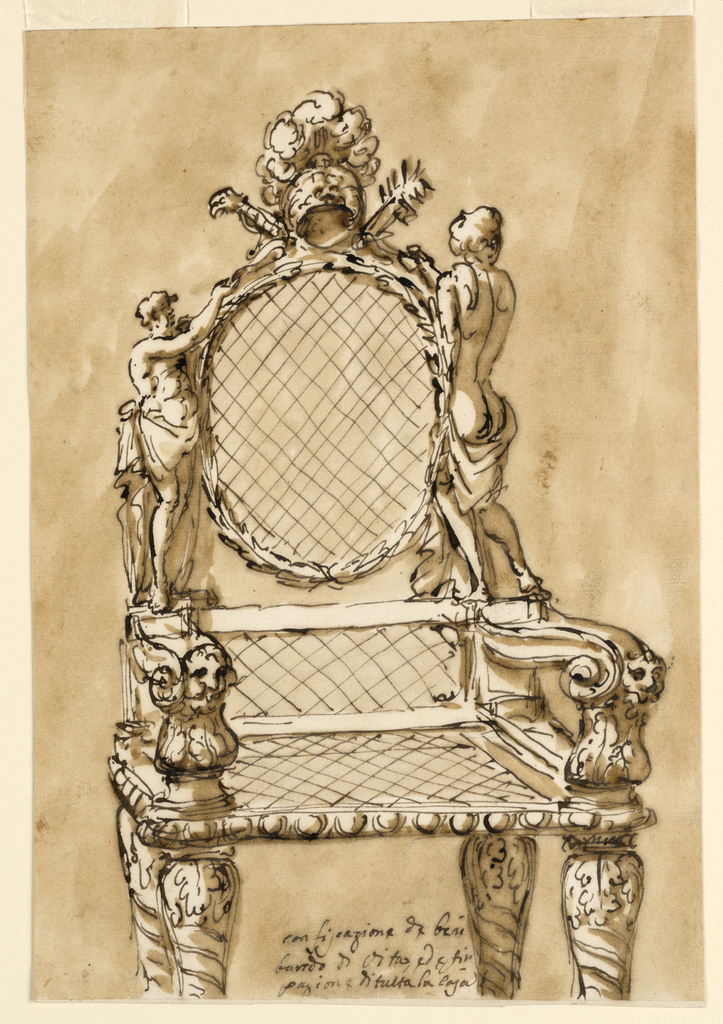 Armchair with stiles in the shape of semi-nude figures. Crest is a helmet in the antique style. Armrests terminate in masks. Baluster form legs decorated with acanthus leaves. Inscription in ink, at bottom.