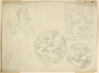 Left row: two circular, above a half-figure of a girl, seen from the front, with the right arm before the breast put into the shawl around the shoulders, the left arm being put behind the back; below is a sketch of a girl with praying raised hands and eyes, turned toward the left. Framed by a circular line. In the center: three-quarter figure of a young woman with a diadem sitting in a side chair, turned toward the right, but looking at the front. Her right arm leans upon the arm of the chair, her left hand holds a circular, only partly visible relief. IN the background are two lower parts of columns with a curtain between them and a view of the sky. Right row: above, rectangularly, a woman sits in a side chair, turned toward the left, with the head turned toward the front. She wears gloves. Her right foot is upon the base, her right arm upon the top of a table, upon which a vase with flowers stands. In the background are columns upon a dado and a curtain. Below: half-figure of a sitting girl, turned toward the left, with her head turned outwards. Her left forearm is bare, her hair is partly floating. Circularly.