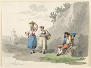 A pair of girls with baskets pass a boy who sleeps in a seated position, on the rocks. A woman on a donkey rides backward, at left.