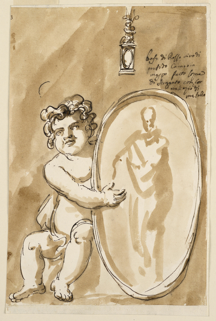 A putto sits on a pedestal below a candlestick holding an oval medallion with an image of a standing man.