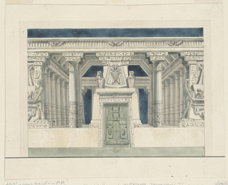 Horizontal rectangle. Egyptian temple hall, richly decorated. Painted papyrus columns, large sculptures, decorative friezes. Possible decoration for Masonic temple.