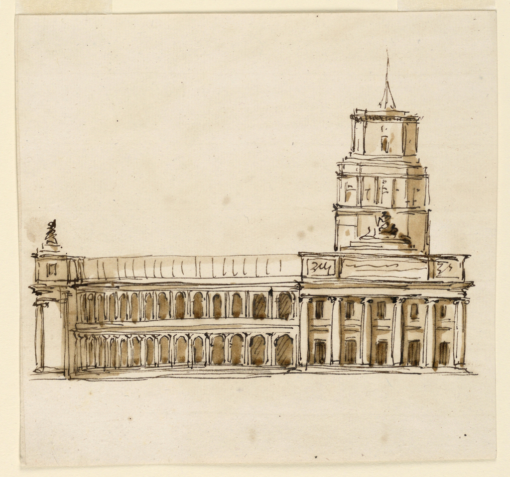 Drawing, Grandiose building with tower