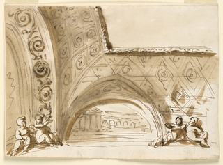 Horizontal rectangle. A rinceau decorates the arch at left. Two children sit upon its base. view of a coffered vault and the molded frame of an oblong panel in the center. At the base of the vault is a pointed one with a semicircular painting of buildings. Two children sit beside it.