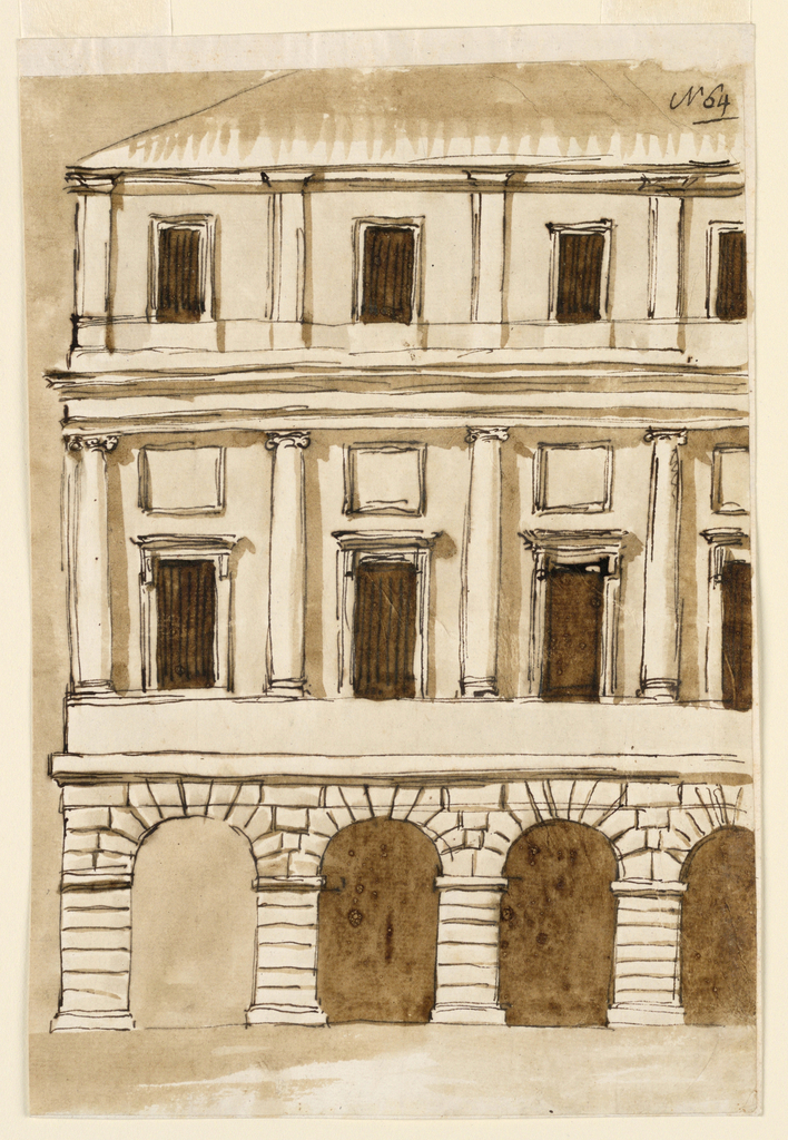 Drawing, Elevation of town mansion