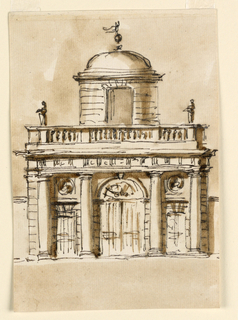 Drawing, Entrance with engage columns with cupola