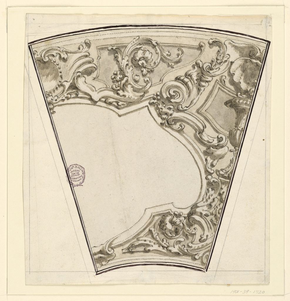 The decoration is intended for the framings of polygonal panels, as well as the space above and between them. On top of the panels - an escutcheon. In the intervals - a vase upon a console, above it - a shell. Rinceaux and volutes are distributed in front of imaginary panels. One eighth is extended, a right half.