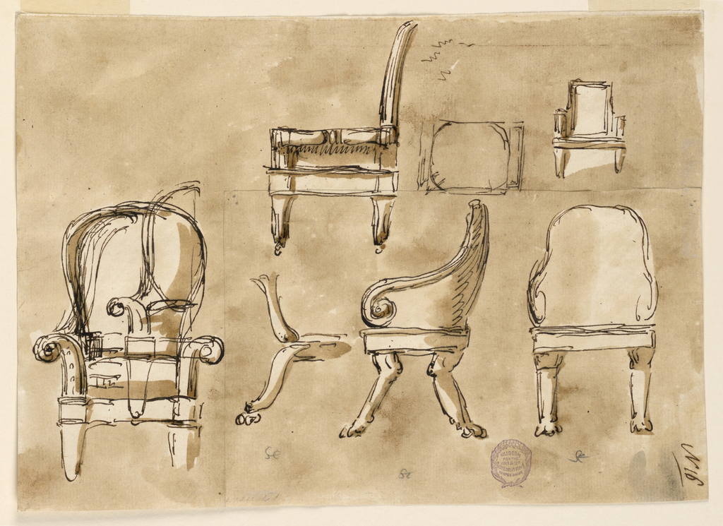 Top center: side profile of a side chair on wheels.  To the right is a front profile of an armchair with a rectangular back.  Bottom row:  front, side and rear profiles of an armchair with a rounded back.  At center drawings of two types of claw foots.