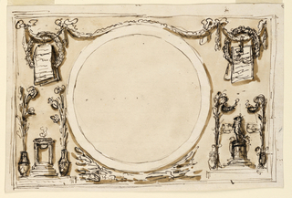 Horizontal rectangle. The scheme of 1901-39-1371; no representation in the circle. The festoons are supported by four bowknots, the outer ones are crossed by a wreath. Below, at left, is a base supporting a lamp and two vases with a flower stem. At right is a base with a statue upon a circular pedestal, between two lamps, supported by flower stems rising from a vase. (RB '45)  Blank roundel, flanked by grotesques, for decoration above mirror for the noble cabinet, Palazzo Altieri. (PDM '91)