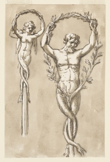 Drawing, Two figures as crests of poles