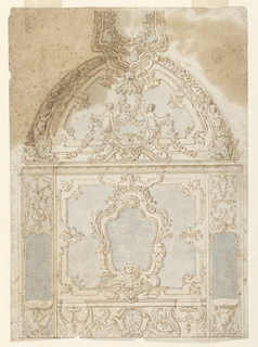 Central panel has an escutcheon with a looking glass, two mermaids at the sides and a lion mask below. Lateral small panels provide for looking glasses above console tables, supported by three mermaids at left and a putto at right. The lower part of the ceiling is spherical, decorated with many frame motifs and in the center are two winged mermaids supporting garlands.