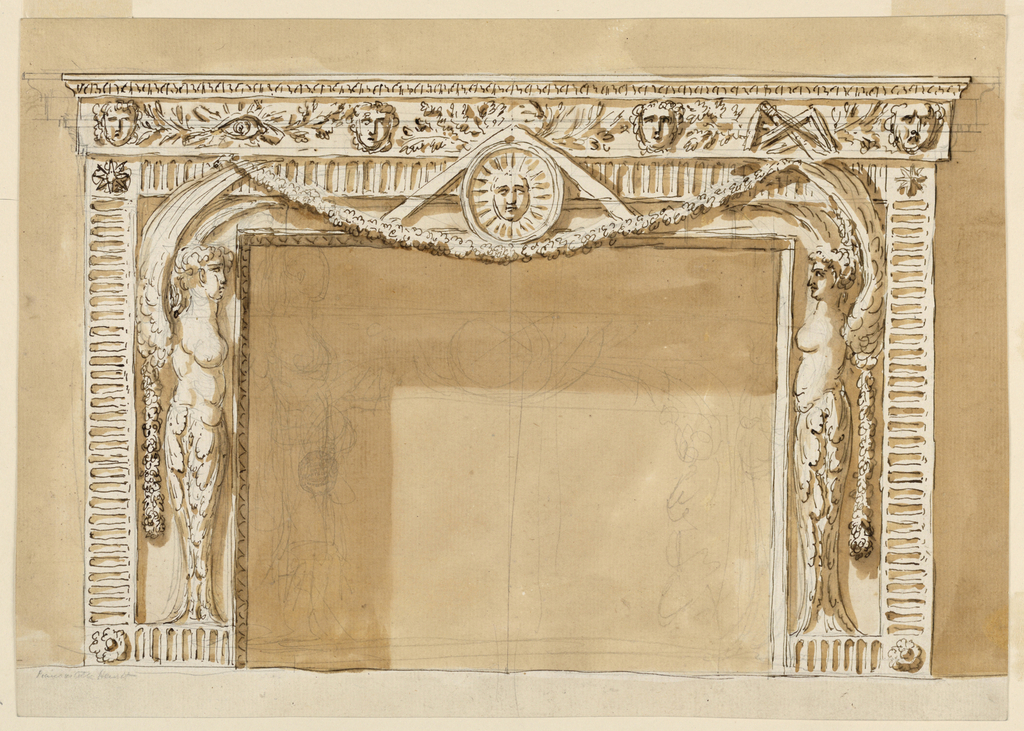 Horizontal rectangle. A fluted band with rosettes in the corners below, stars in those above, frames. The panels beside the opening, below, outside laterally above. On either side stands the half figure of an armless winged woman with leaves at the lower parts of the body. They support with their outer wings a festoon upon which stands in the middle of the front a sun disk with a rule. Above is a frieze with cornices on top; it is decorated with four masks. In the intervals between them are, at left: an eye with branches, in the center branches, at right: a mason's tools and branches. Instead of the frieze is suggested with pencil an entablature with cornices. Inside is a pencil sketch of a mantelpiece with an opening being lower than the standing figures. The wall is colored.