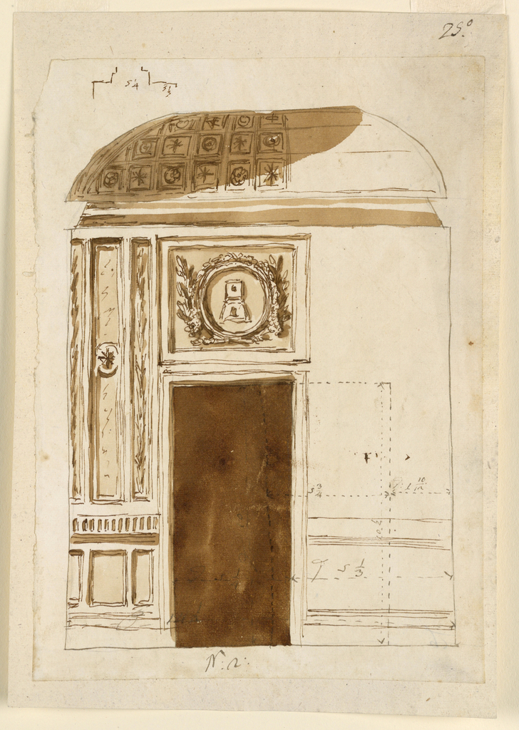 Drawing, Wall elevation of alcove