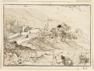At top, a hilly countryside with three trees and a monastery at left. Below, from left to right: a group of men, a woman with cow, a fantastic mask, a cornucopia, a part of a pediment, two heads looking upwards.