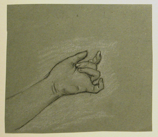 Woman's hand, palm upturned, rising from lower left.