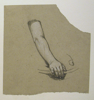 Woman's hand and arm, detail of thumb to the right