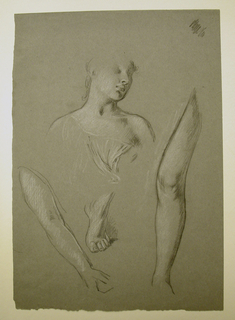 Vertical rectangle. Above, head and shoulders of a young woman; below, woman's arm, leg, foot.