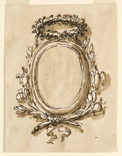 Vertical rectangle. Framed by crossed flower stems. Above a wreath. Unsual background.