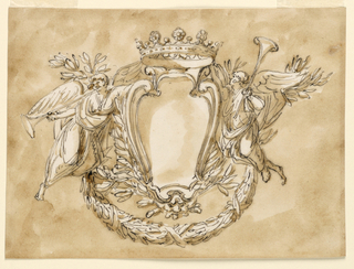 Horizontal rectangle. An escutcheon with a crown on top, above two crossed branches with a mask above the crossing point. Two angels flow beside it, the left one blowing the trumpet, the right one raising the trumpet with his left hand, supporting the crown with his right one. Usual background.