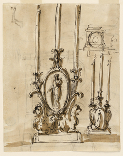 Drawing, Recto: candlesticks; Verso: mausoleum in a church-like hall