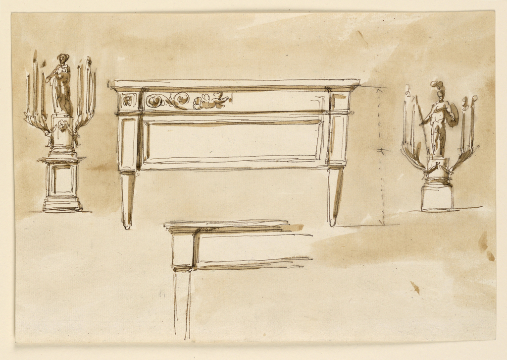 Drawing, Candlesticks; chest; table