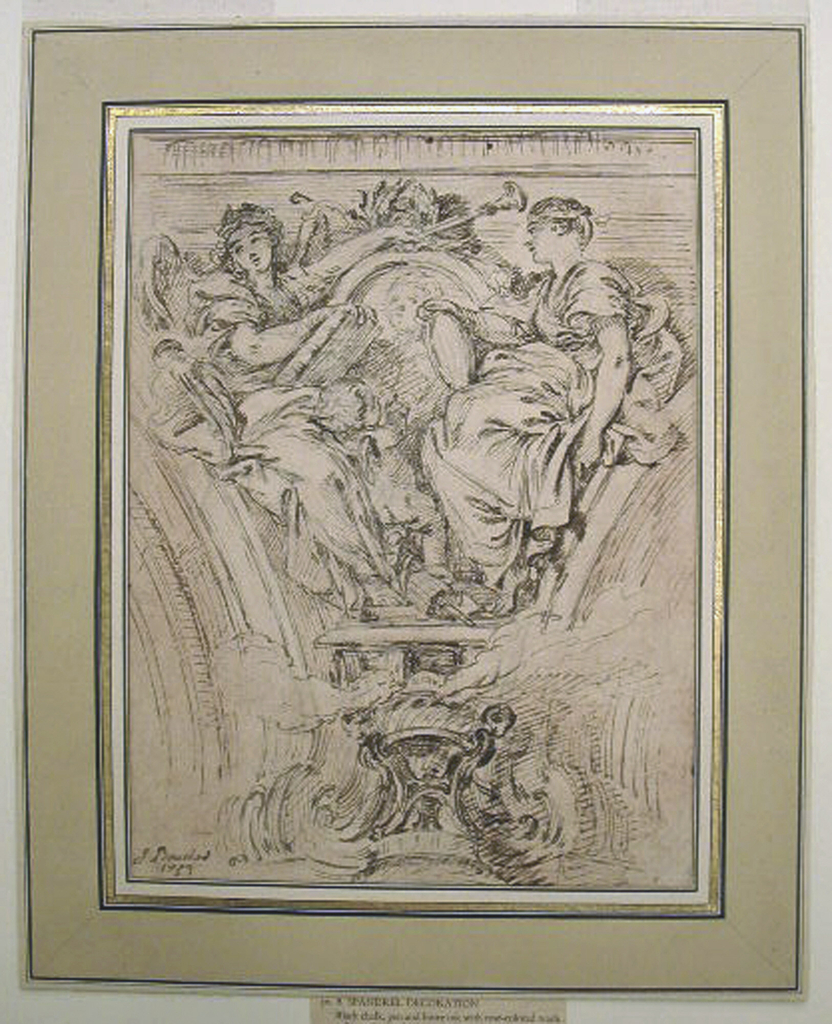 Drawing, Spandrel Decoration:  Fame and Truth Applauding Louis XV