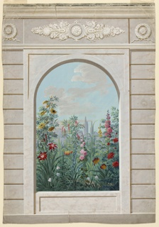 View in a garden through an arched opening in its wall.