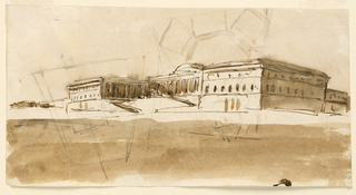 Drawing, Recto: palace; Verso: plans