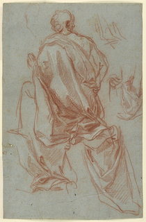 A kneeling woman shown from behind, lifting a cloth with her right hand. Detailed studies for the drapery and hand.