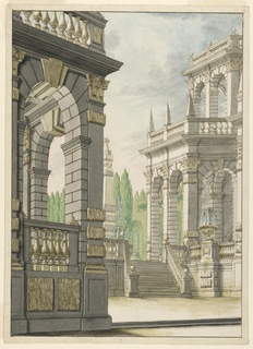 "Vertical rectangle showing a palace façade and loggia surmounted with balustrade. In the background, an obelisk is capped with a ""mountain and star"", the Albani arms. Lined and ruled border."
