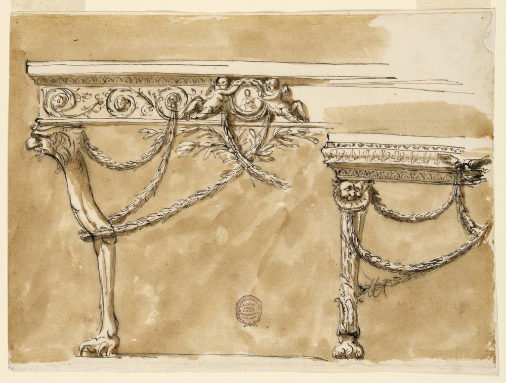 Pen and ink, brush and wash on paper. At left, the leg in the form of a claw foot with griffin head. A frieze with rinceaux and two putti holding a portrait medallion and swags. At tight, a smaller table with paw foot, three bands of ornament and hanging swags.