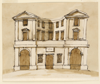 Drawing, Elevation of a town house