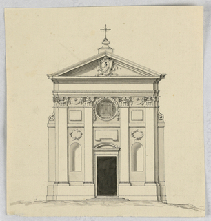 Drawing, Elevation of a small church
