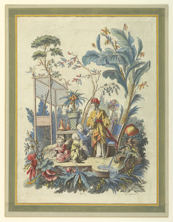 Print, Plate 7 of a Set of Chinese Genre Scenes