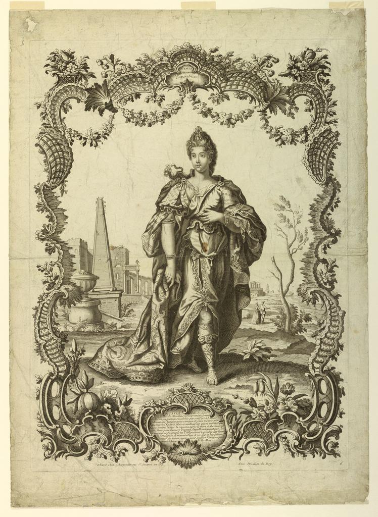 Print, Octavia Empress to Nero, in escutcheon