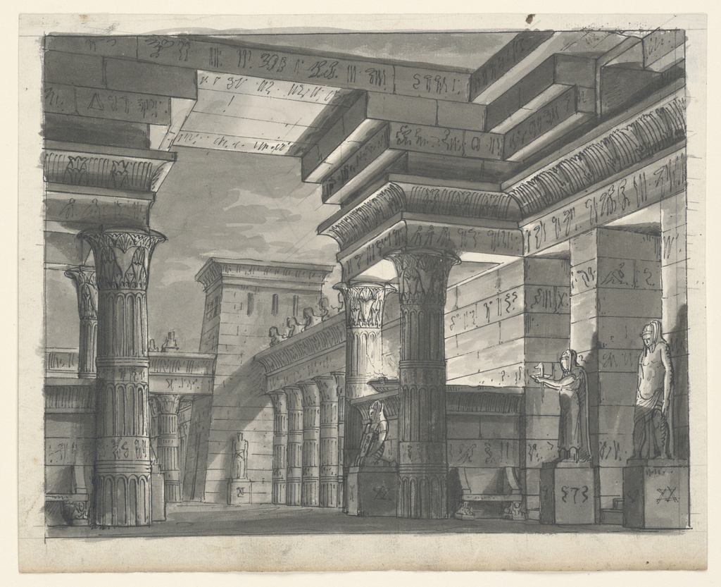 Horizontal rectangle. Exterior of Egyptian buildings decorated with sculptures and papyrus columns.