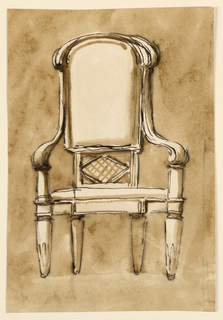 Seen from the front. Below, the back has a rectangle with a lozenge inside, above an upholstered panel which is bloe rectangular, above circule. Around the top is a scroll. The arms are formed by volutes springing from the back. The lack legs stand nearer together than the front legs. On the reverse, at left, are lines, having been part of an architectural plan.