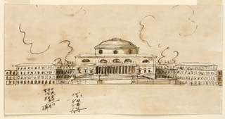 Drawing, Grandiose building with domed central block and projecting wings