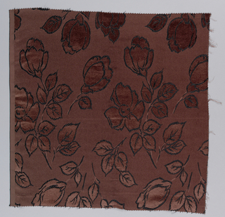 Fragment of jacquard, hand-cut satin, showing allover rose pattern. Areas filled with velvet. Pattern reversible.