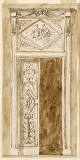 A variation of the scheme of -1662. In the center of the door folding is a lozenge with the figure of a standing woman, causing a correlated shape of the upper and lower panels. They are decorated with floral candelabra. The panel of the overdoor is divided into a central lozenge, with two goddesses upon clouds and four triangles with a palmette. The cornices of the entablature are supported by two consoles. In front of the entablature, in the center, is a shell with a head, framed above by a garland, the ends of which are supported by bowknots. Usual background.