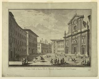 """Print, View of Florence, Plate from """"Scelta di XXIV Vedute delle principali contrade, piazze, chiese, e palazzi della Città di Firenze"""""""