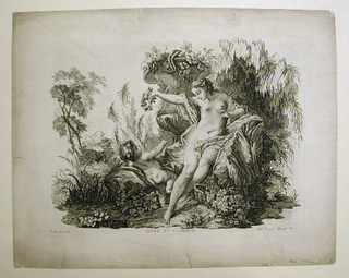 The allegorical figure of a Flora is seated nude, near a large vase in a landscape, and offers a crown of flowers to Cupid.