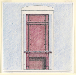 Square format drawing with black framing lines. On a blue wall, design and elevation of a red fireplace, possibly to be executed in brick or stone. Square framing tiles or stones at the fireplace corners, a thick red and black mantel. Above, the chimney decorated with vertical bands at right and left edges. Further inwards, each side ornamented with decorative round studs. A horizontal projection echoes the form of the mantel near the top of the chimney.