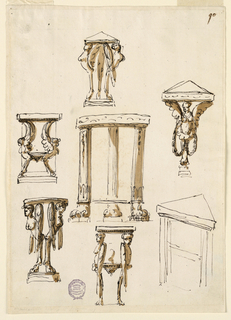 Seven designs for console table, five of which have caryatid legs; one has strait legs with lion form feet.