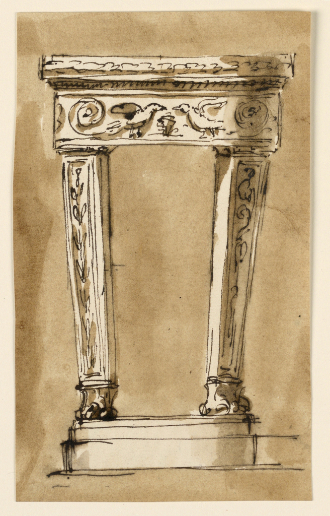 Slightly curved. Supported by two pillars with lion's feet, upon a base. Above shaped like an entablature, with two birds symmetrically beside a central motif, and rinceaux. Usual background.
