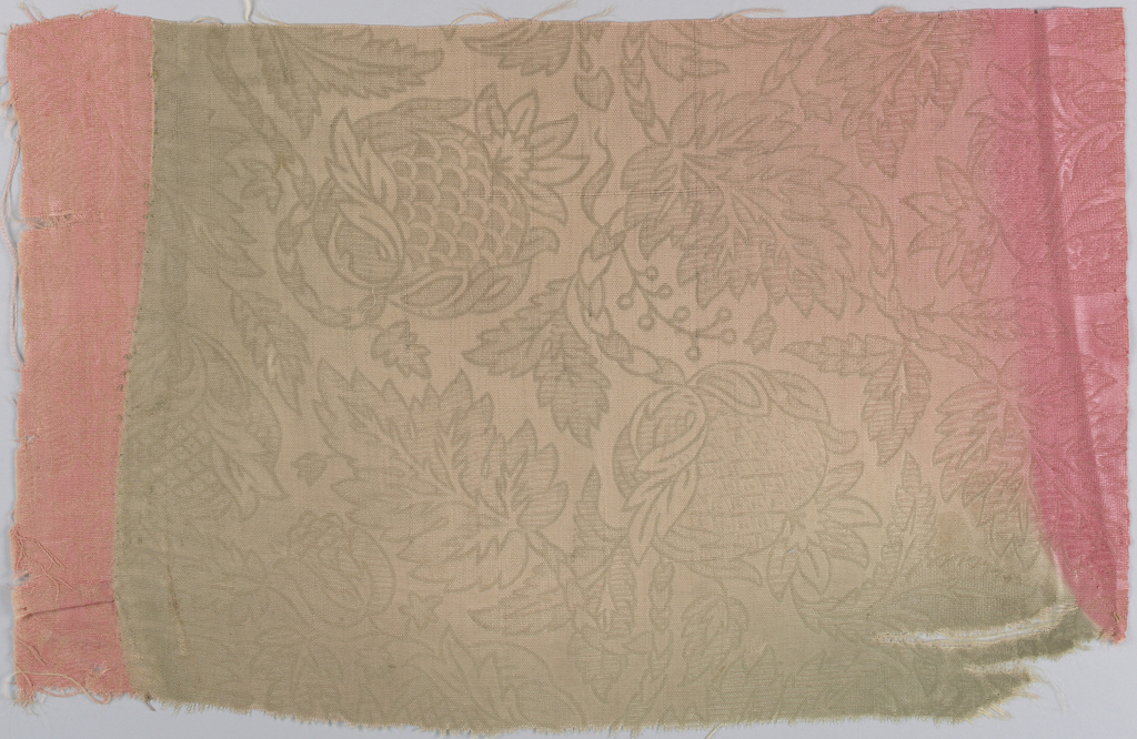 Two fragments of thin wool, stamped in large-scale design of pomegranate and foliage; originally a bright coral color