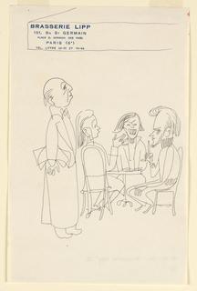 Drawing, Brasserie Lipp III: Waite